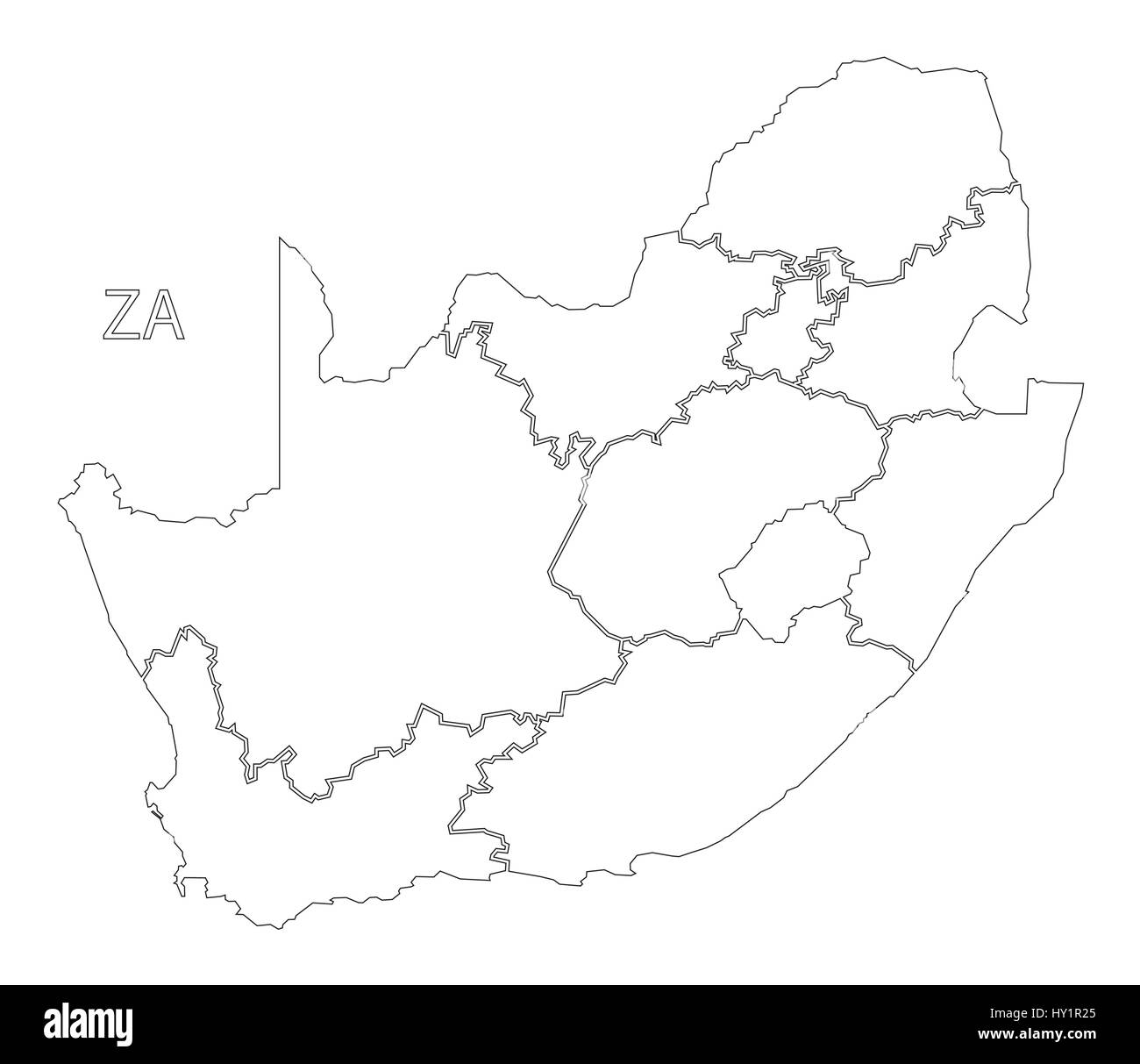South Africa outline silhouette map illustration with provinces
