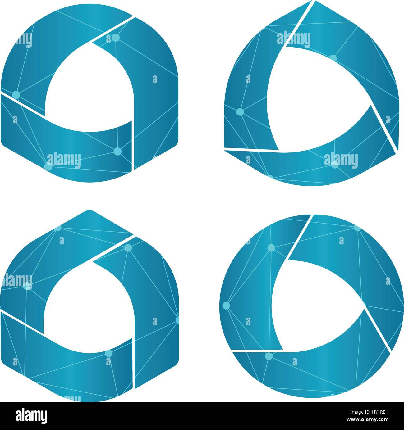 Isolated abstract round shape blue color logo set, geometric circular logotypes collection on white background vector - Stock Image