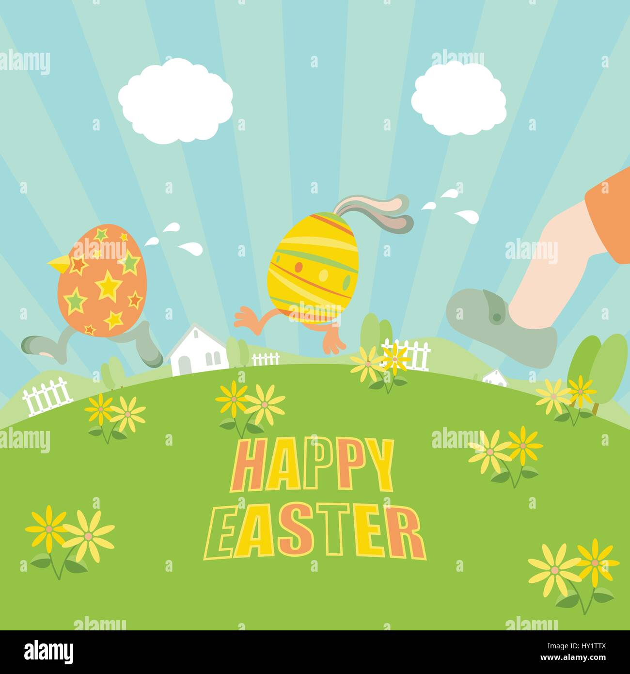 Easter eggs running away from a chasing boy on grass field with flowers, trees, fences, houses and clear blue sky Stock Vector