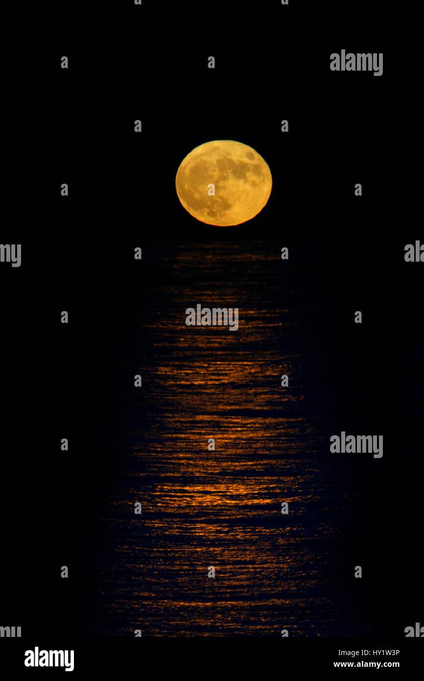 Full moon rising over the north sea, Sherringham, Norfolk, England, UK, December. - Stock Image