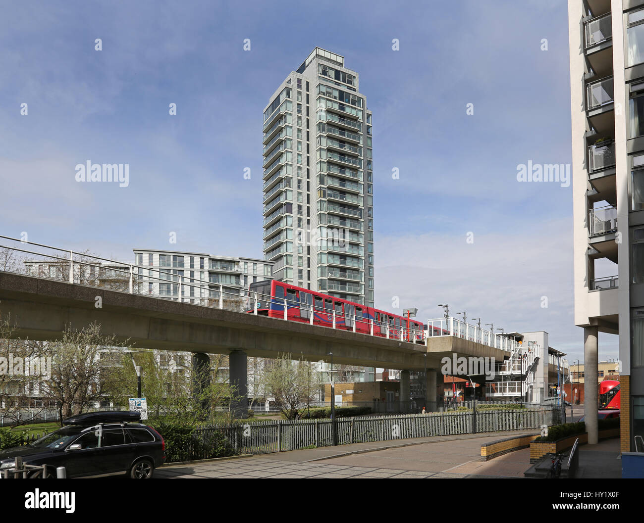 Deptford Bridge Station on London's Docklands Light Railway. Tracks span the A2 London to Dover road. Shows - Stock Image