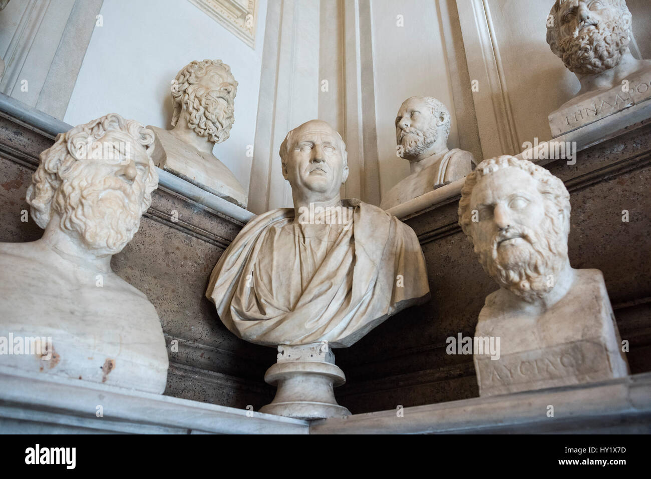 Rome. Italy. Hall of the Philosophers, Capitoline Museums. Sala dei Filosofi, Musei Capitolini. Centre; Bust portrait - Stock Image