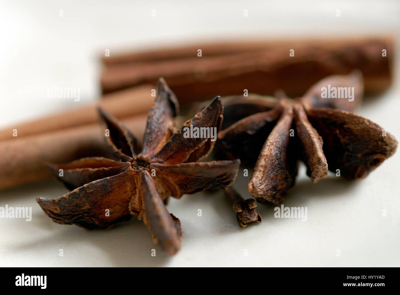This Macro Stock Photo shows two pieces of star anise in the foreground and a few sticks of cinnamon in the background. - Stock Image