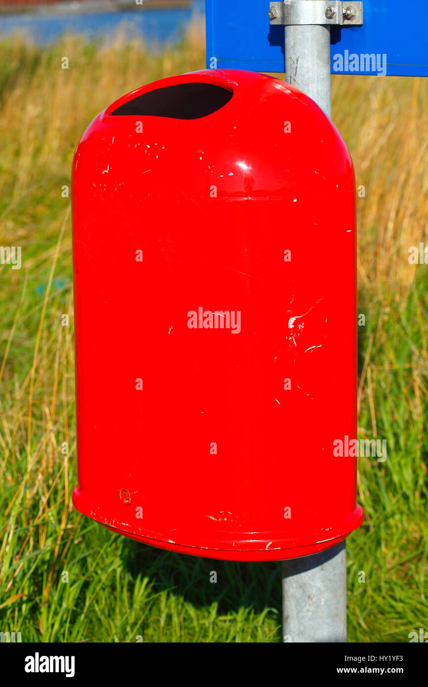 Red  Trash Can,  Germany - Stock Image