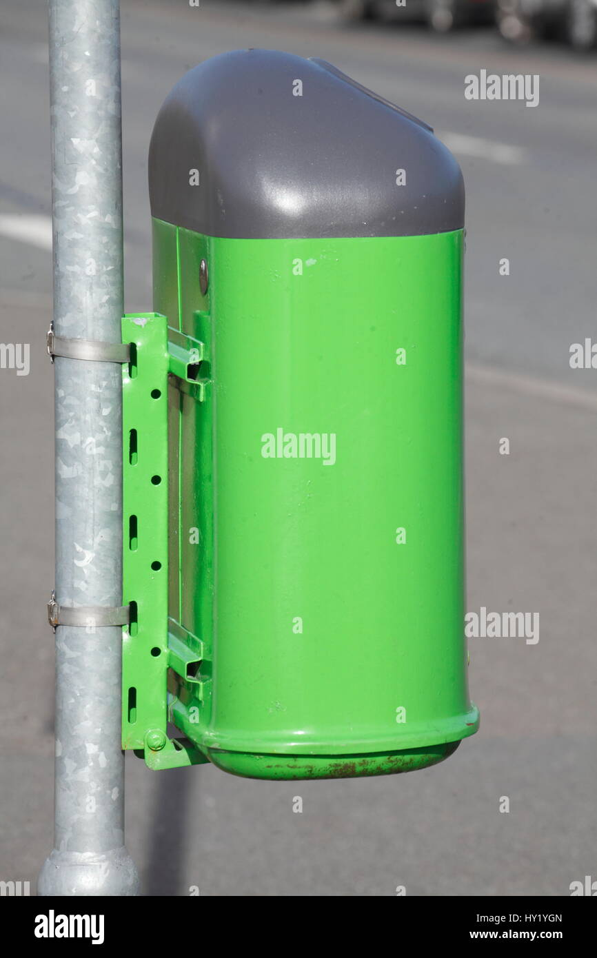 green  Trash Can,  Germany - Stock Image