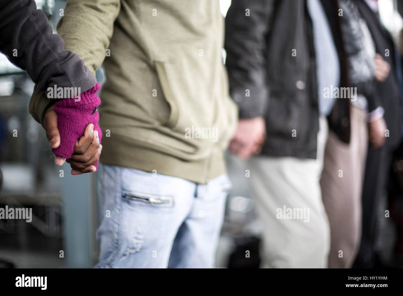 UNITED KINGDOM, WALES. March 17 2017. Citizens of Cardiff joined hands as a symbolic gesture of connectedness and - Stock Image