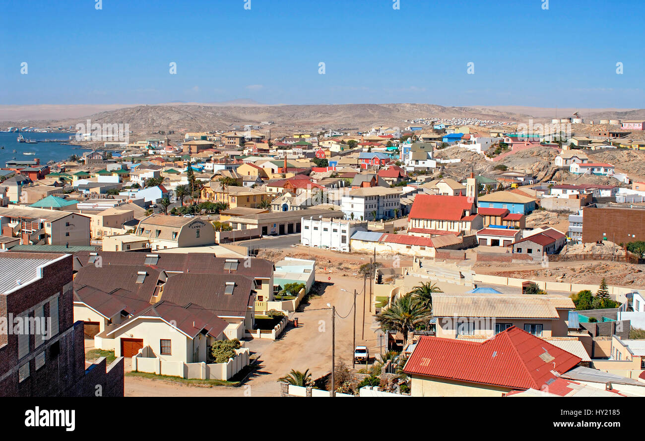 Image of the German heritage port town of L¸deritz in Namibia. Stock Photo