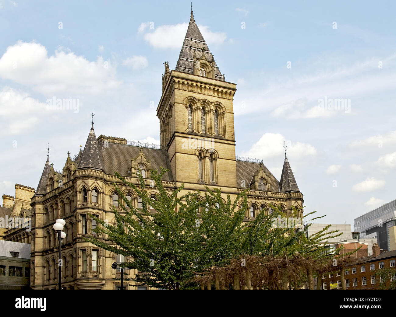 Manchester Town Hall is a building in Manchester, England that houses Manchester City Council. Completed by architect - Stock Image