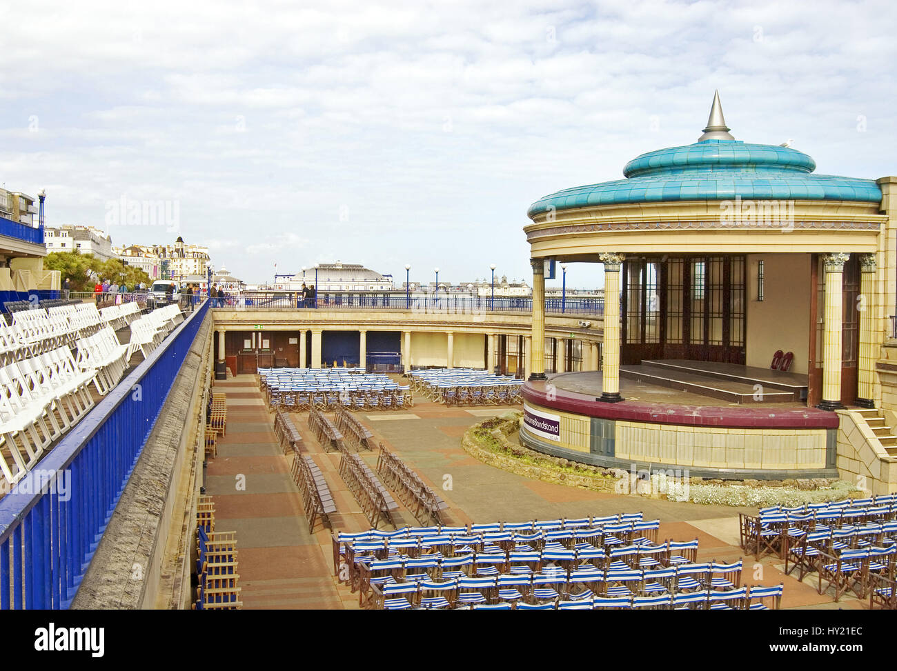 The Bandstand at the popular beachside resort of Eastbourne in East Sussex, South England. Stock Photo
