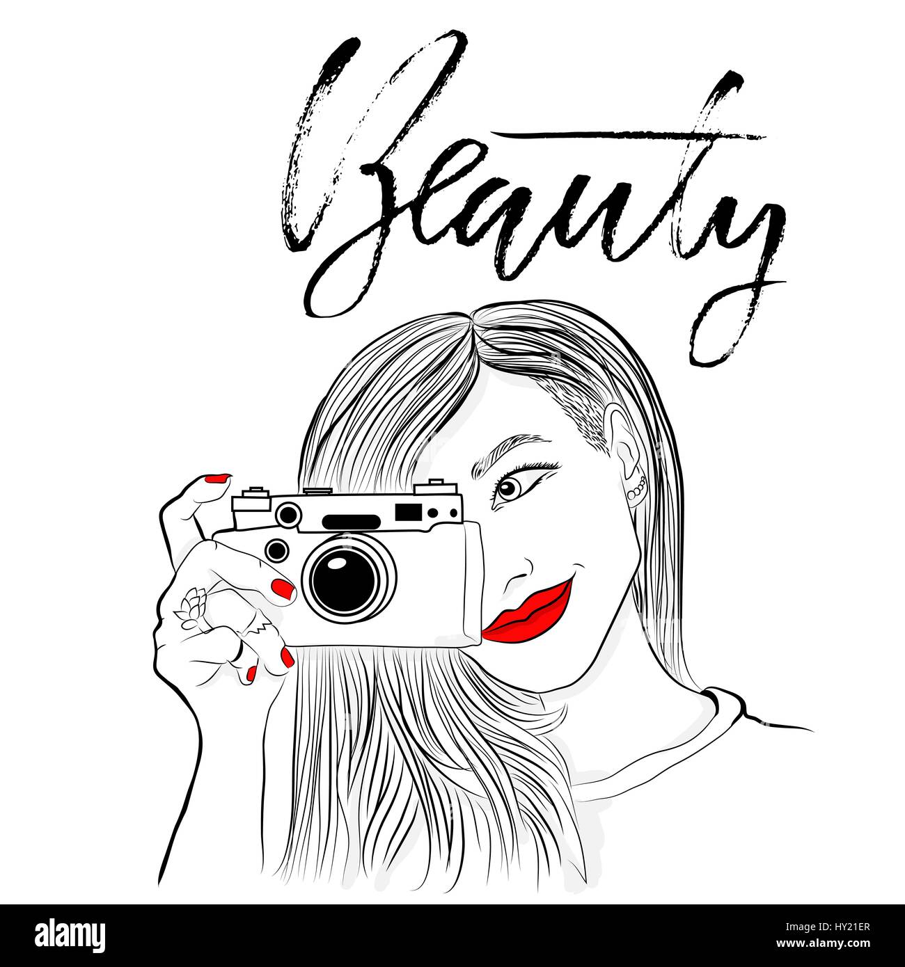 Monochrome Vector Illustration Beautiful Girl With Red Lips And
