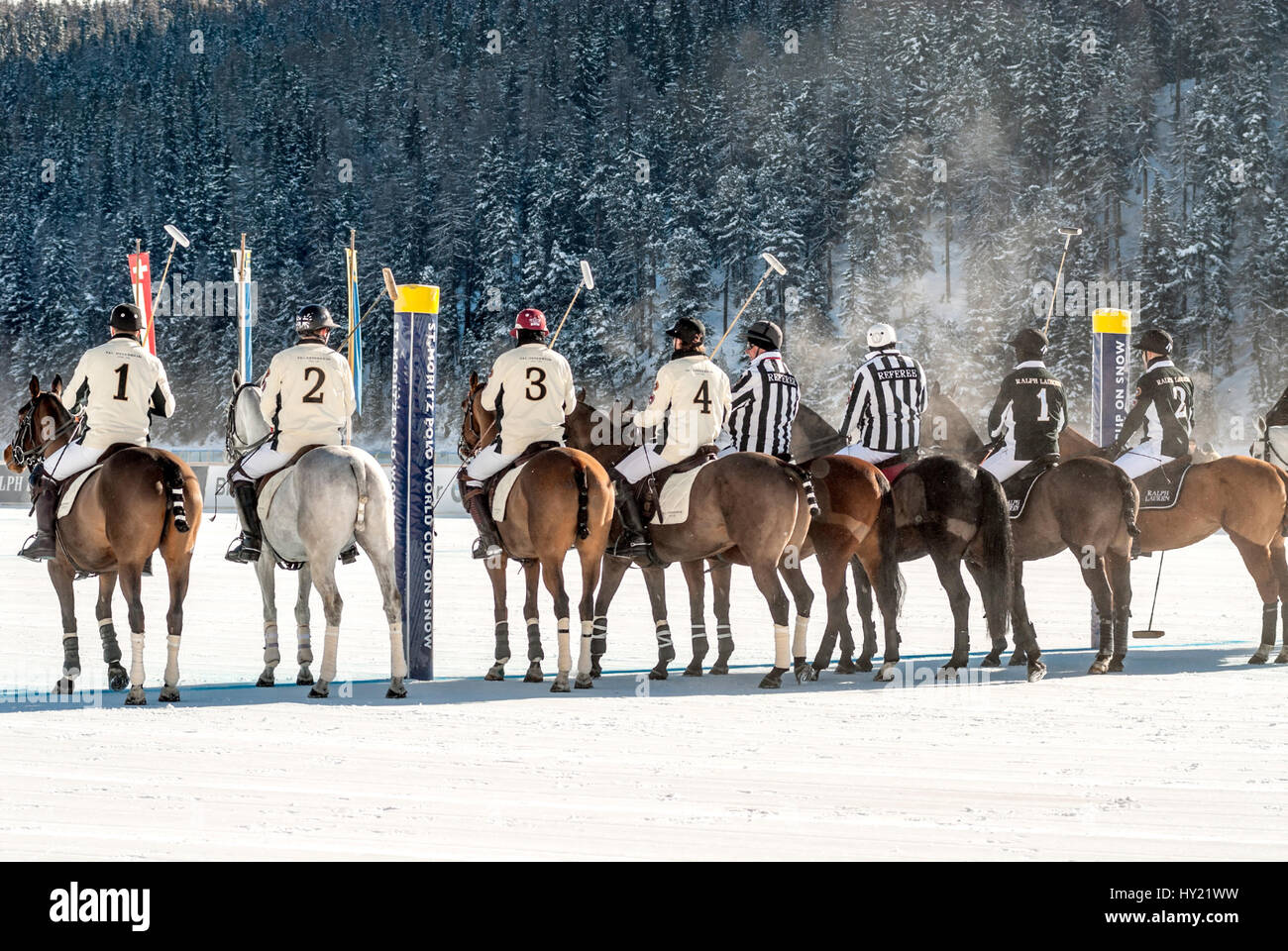 Polo Player line up during the Snow Polo World Cup 2013 Match, St.Moritz, Switzerland | Polo Spieler während - Stock Image