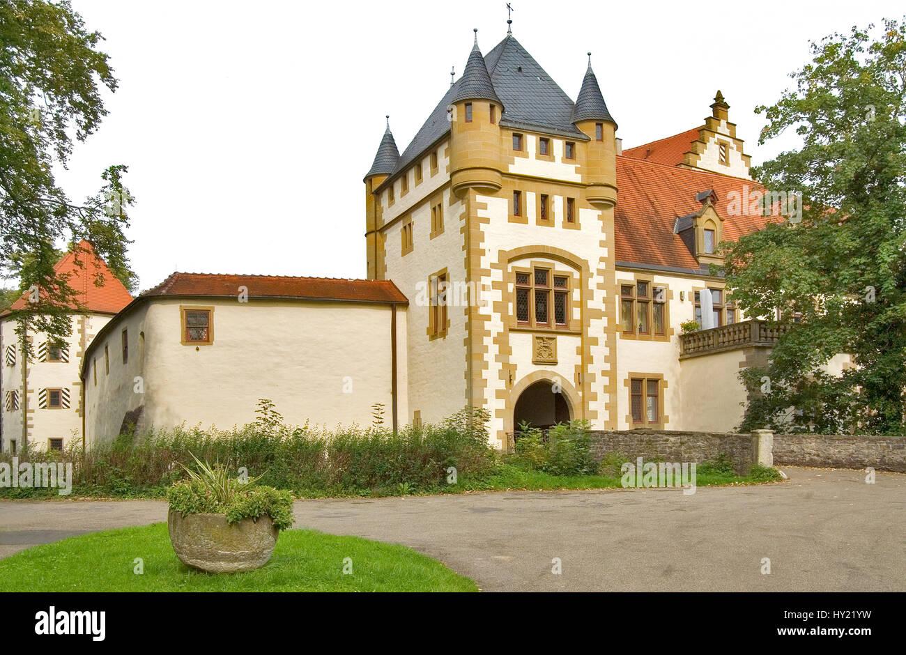Blick auf Schloss Jagsthausen in Baden Wuerttemberg, einer der Stammsitze der Herren von Berlichingen.  Image of - Stock Image