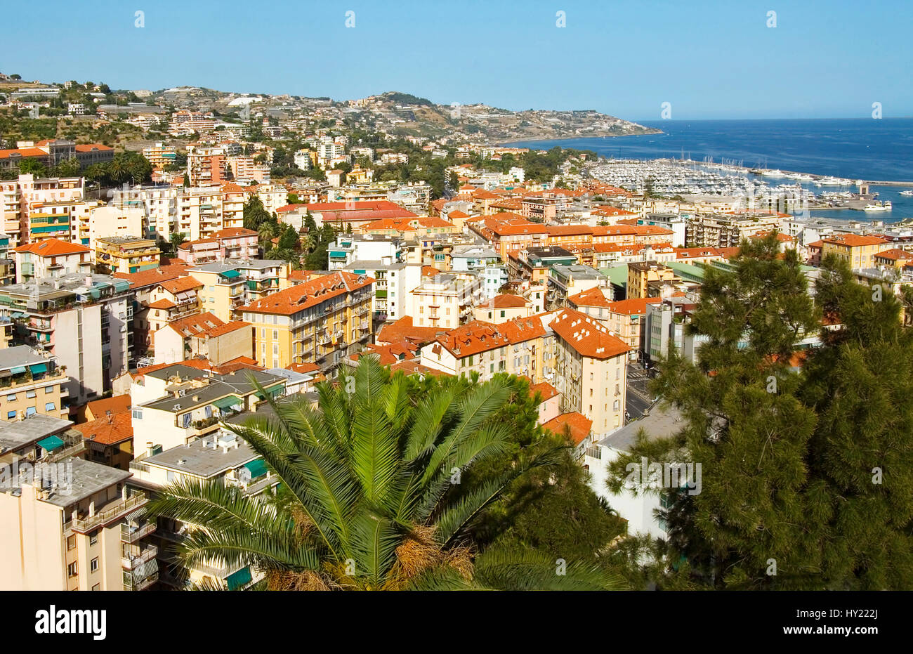 View over San Remo a popular tourist destination in the Ligurian Coast, North West Italy.  Blick ueber San Remo, - Stock Image