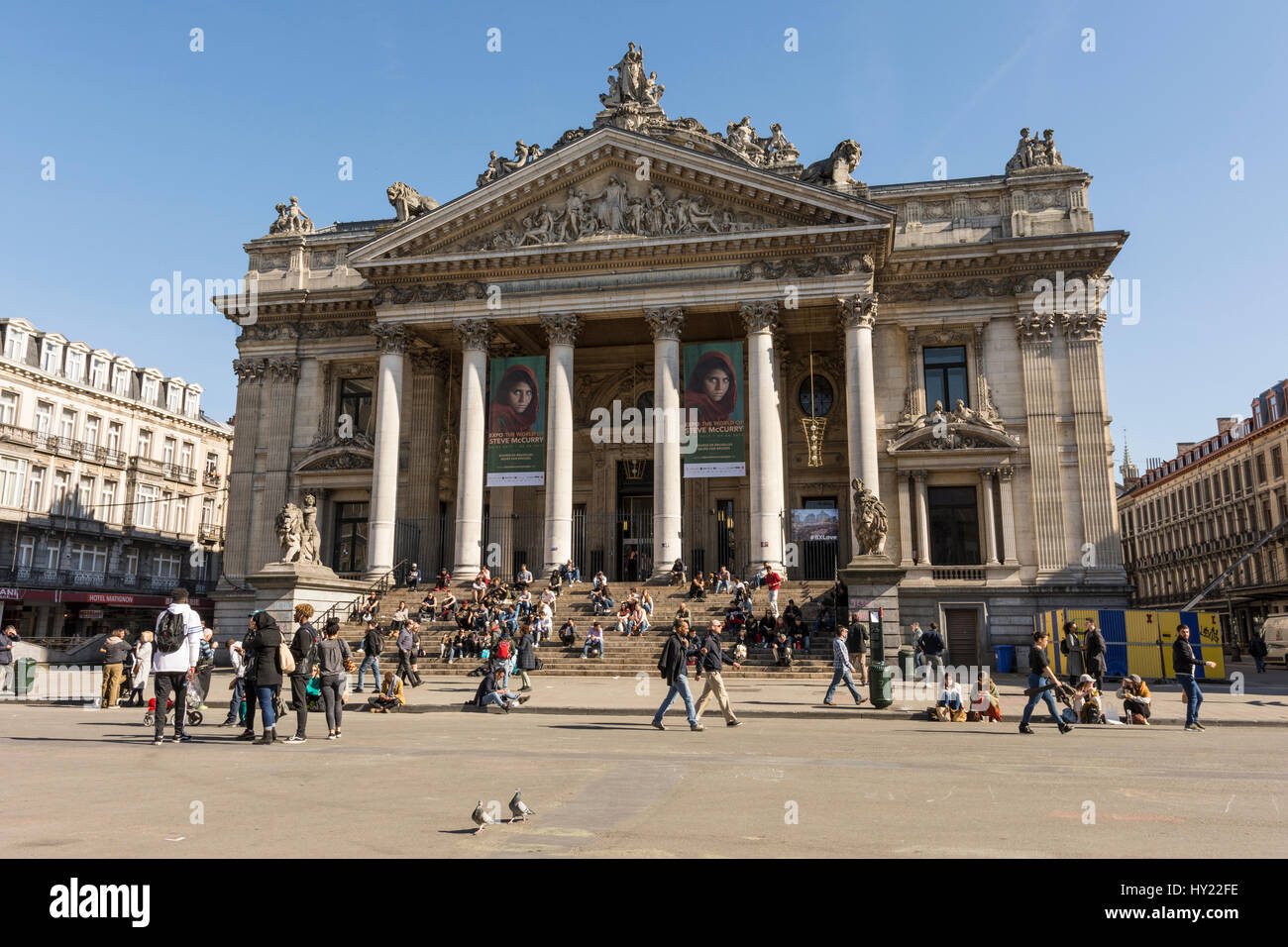 Le Bourse building in Brussels - Stock Image