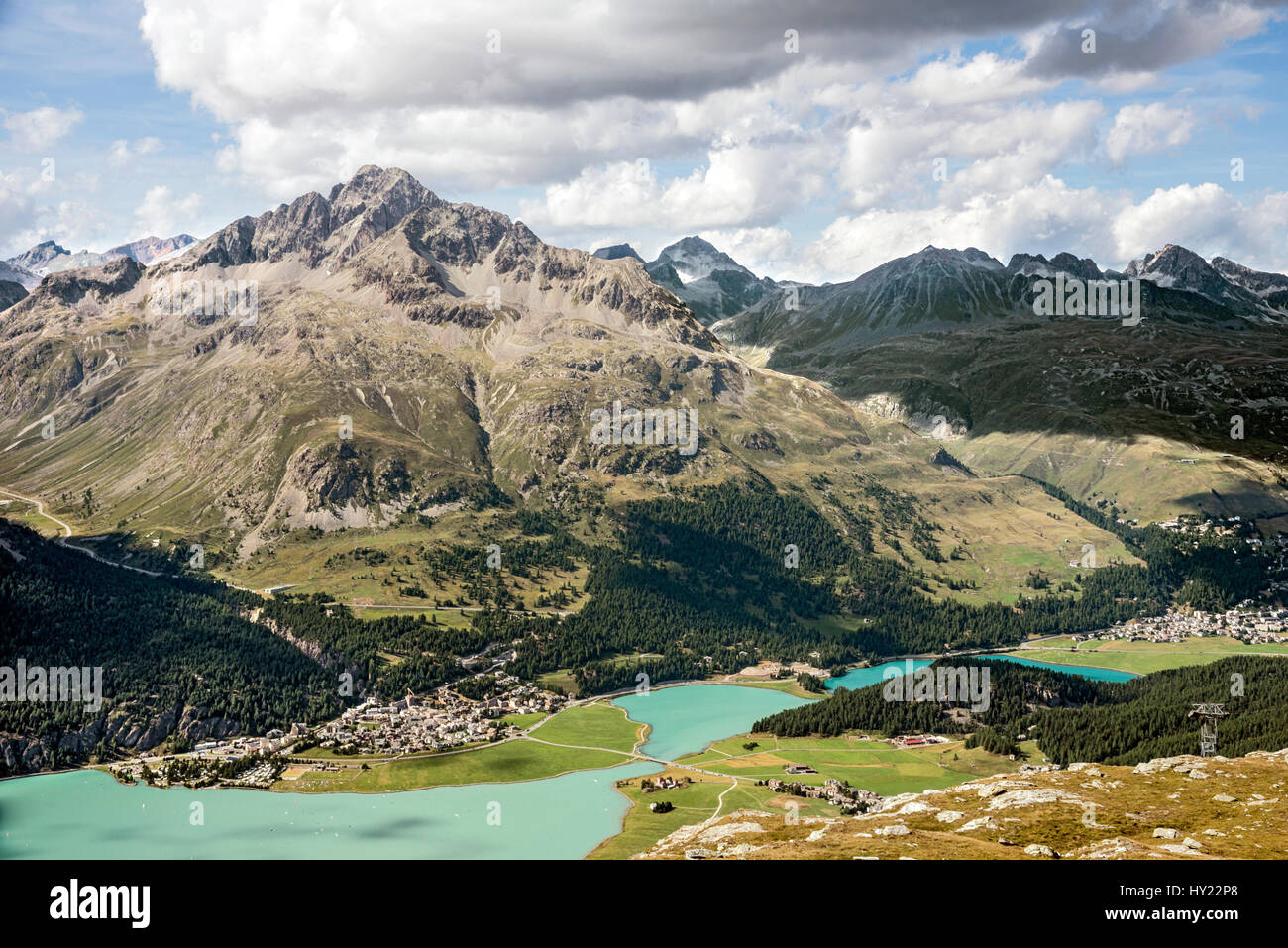 View from Corvatsch torwards Silvaplana, Engadin, Switzerland. | Aussicht auf den Silvaplaner See und Silvaplana, Stock Photo