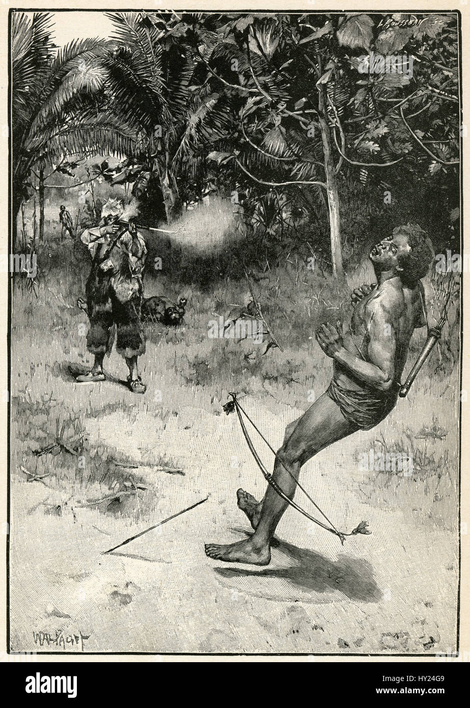 """1910s engraving from Robinson Crusoe by Daniel Defoe: """"I was then obliged to shoot."""" Illustrated by Walter Paget. Stock Photo"""