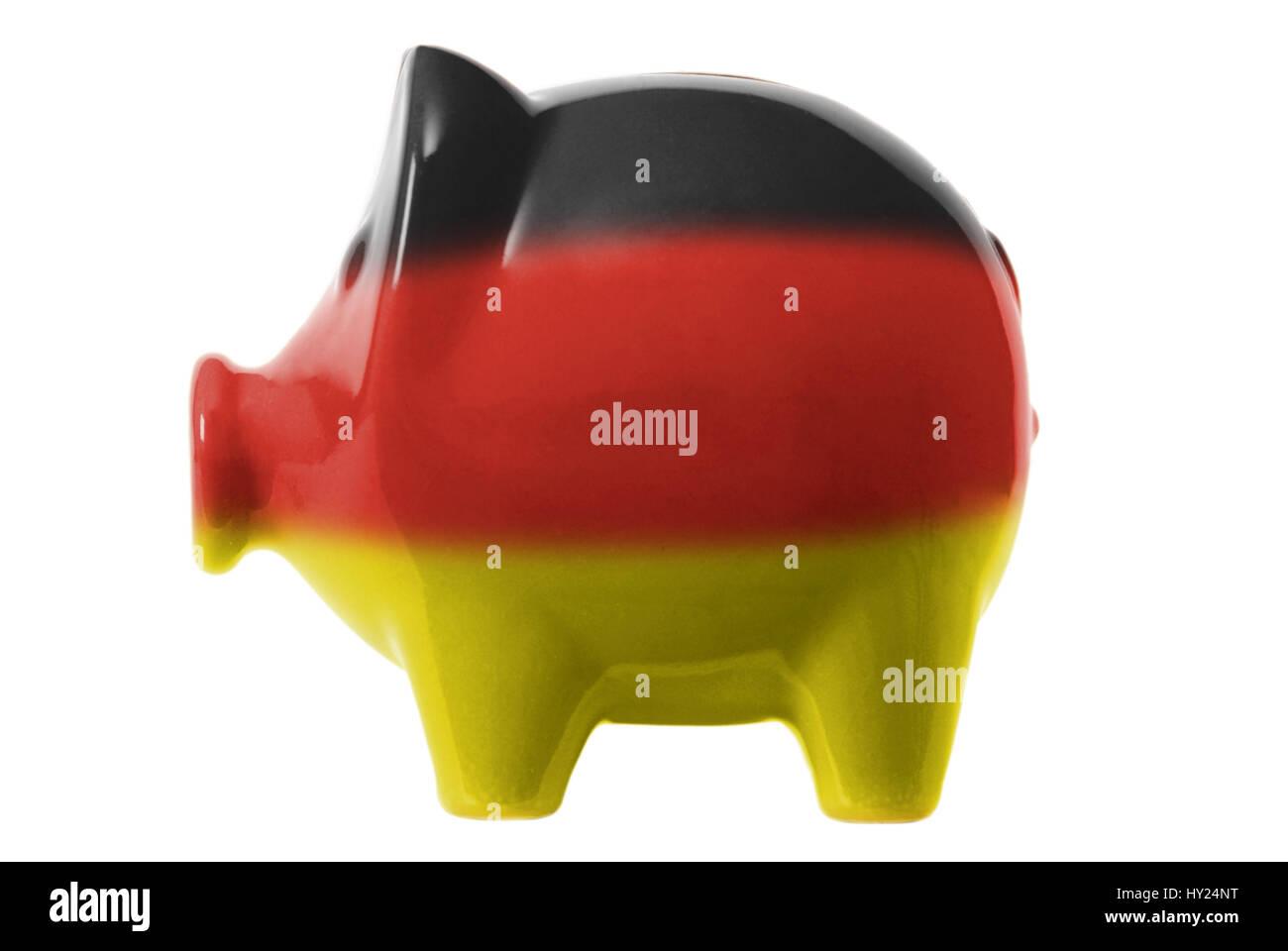 Piggy bank with German national colours, Sparschwein mit deutschen Nationalfarben Stock Photo