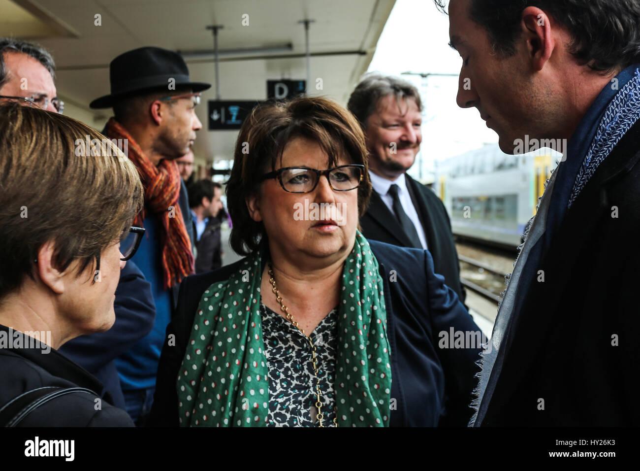 Benoit Hamon and Martine Aubry in campaign in Douai. -  29/03/2017  -  France / Nord-Pas-de-Calais  -  Benoit Hamon, - Stock Image