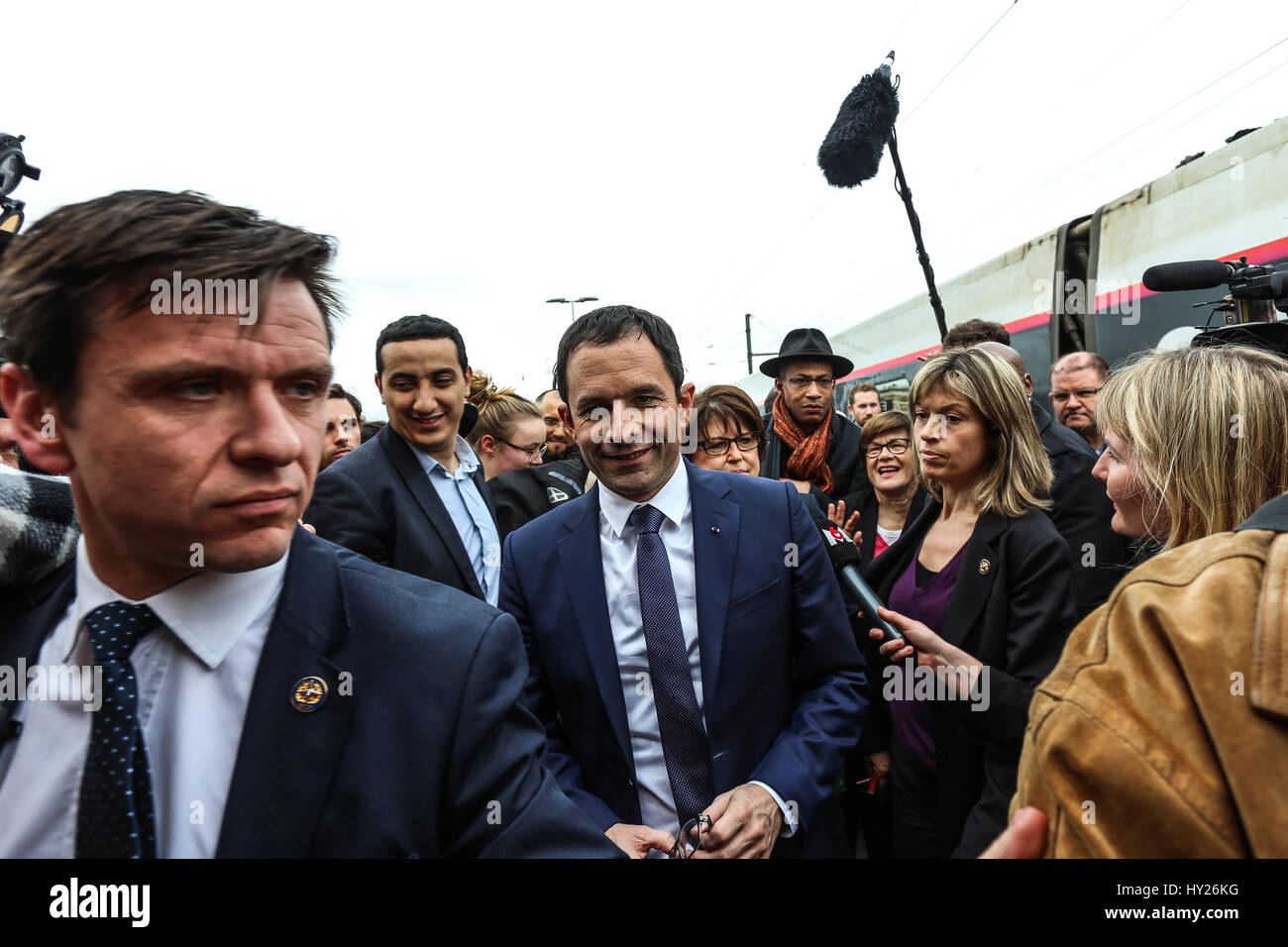 Benoit Hamon and Martine Aubry in campaign in Douai. -  29/03/2017  -  France / Nord-Pas-de-Calais  -  Benoit Hamon, - Stock Image