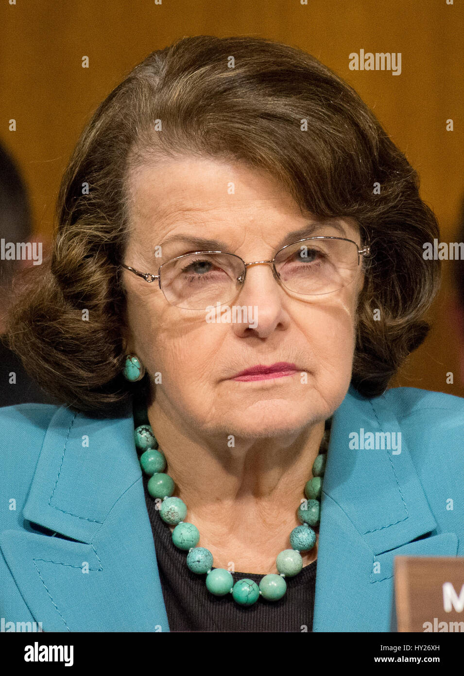 Washington, US. 30th Mar, 2017.  United States Senator Dianne Feinstein (Democrat of California), questions the - Stock Image