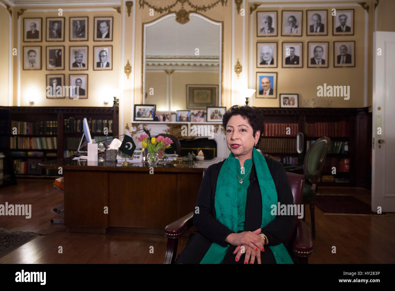 New York, USA. 28th Mar, 2017. Dr. Maleeha Lodhi, the permanent representative of Pakistan to the United Nations, - Stock Image