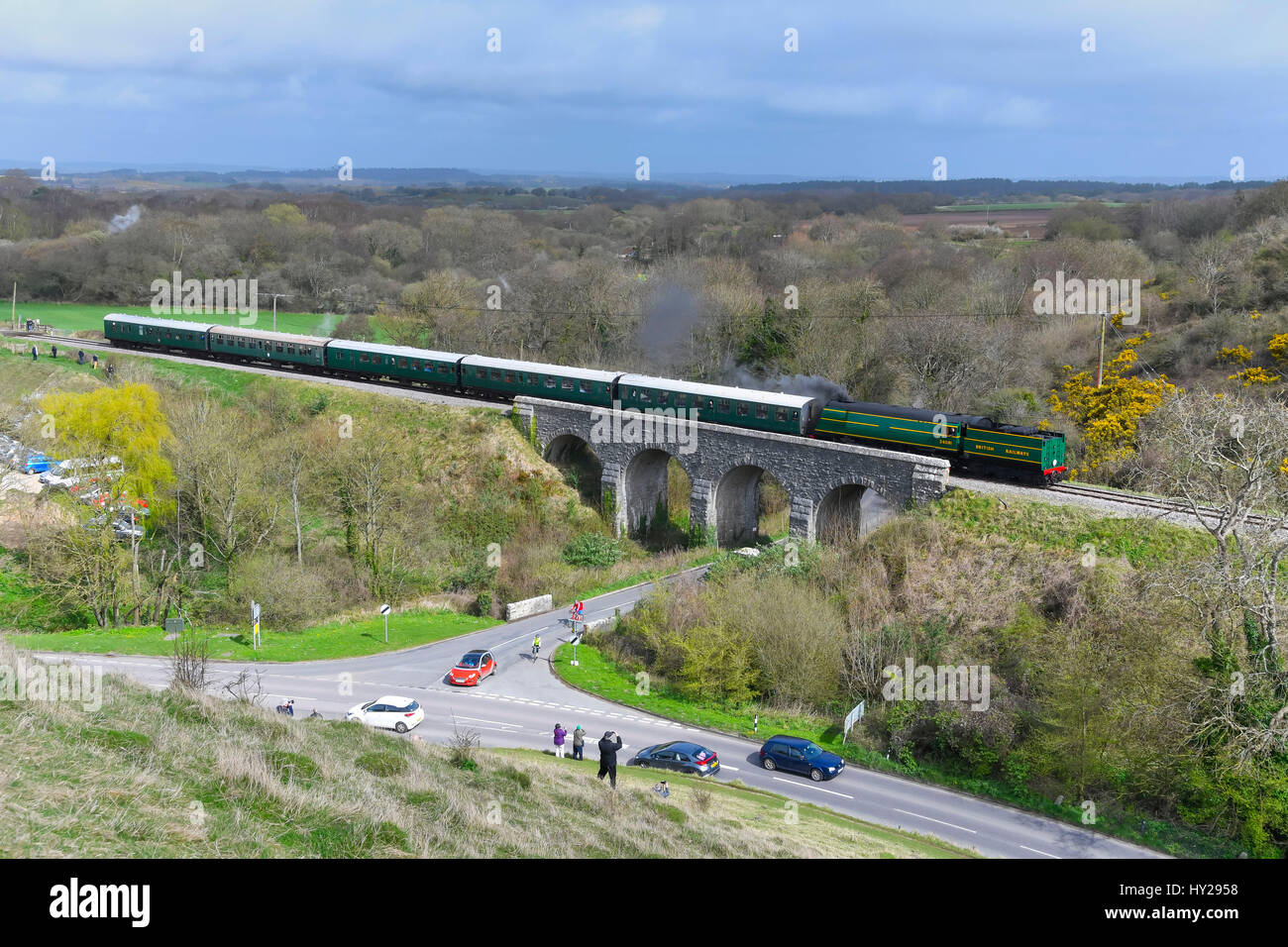 Corfe Castle, Dorset, UK. 31st Mar, 2017. The Swanage Railway hosting a steam gala over 3 days with Bulleid locomotives - Stock Image