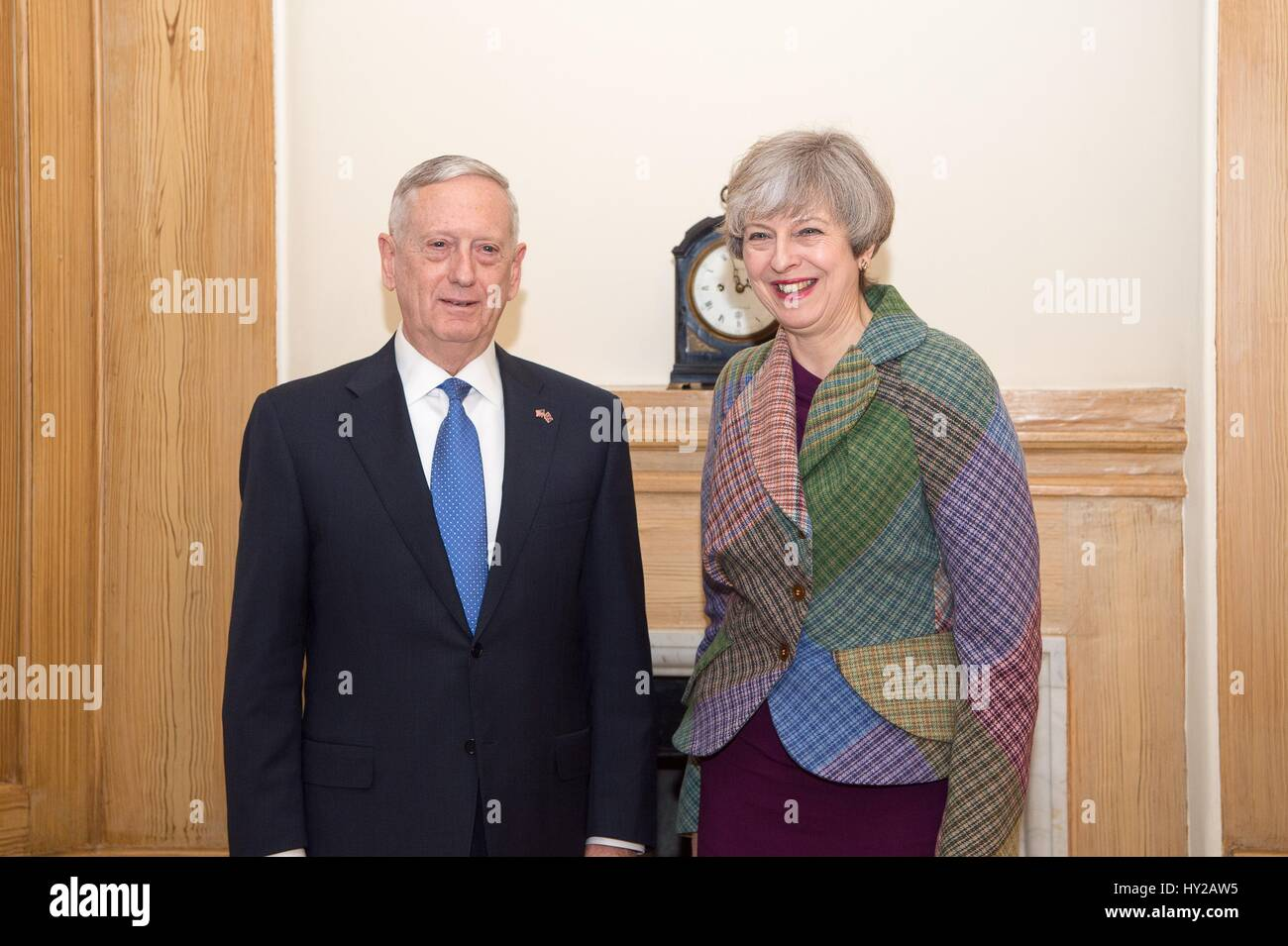 London, UK. 31st Mar, 2017. U.S. Secretary of Defense Jim Mattis during a meeting with British Prime Minister Theresa Stock Photo