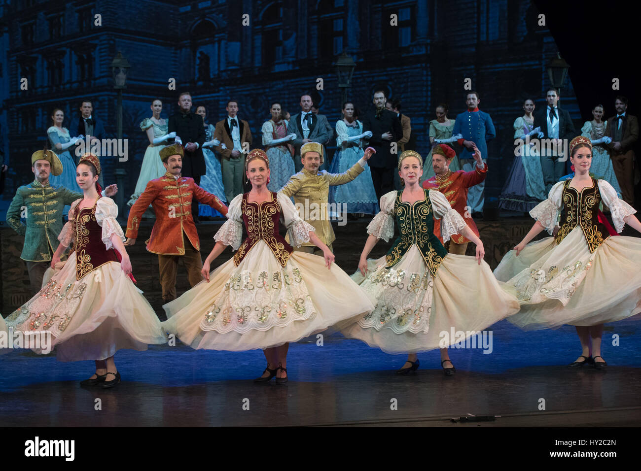 Budapest, Hungary. 31st Mar, 2017. Members of the Hungarian National Dance Ensemble perform during a dress rehearsal - Stock Image