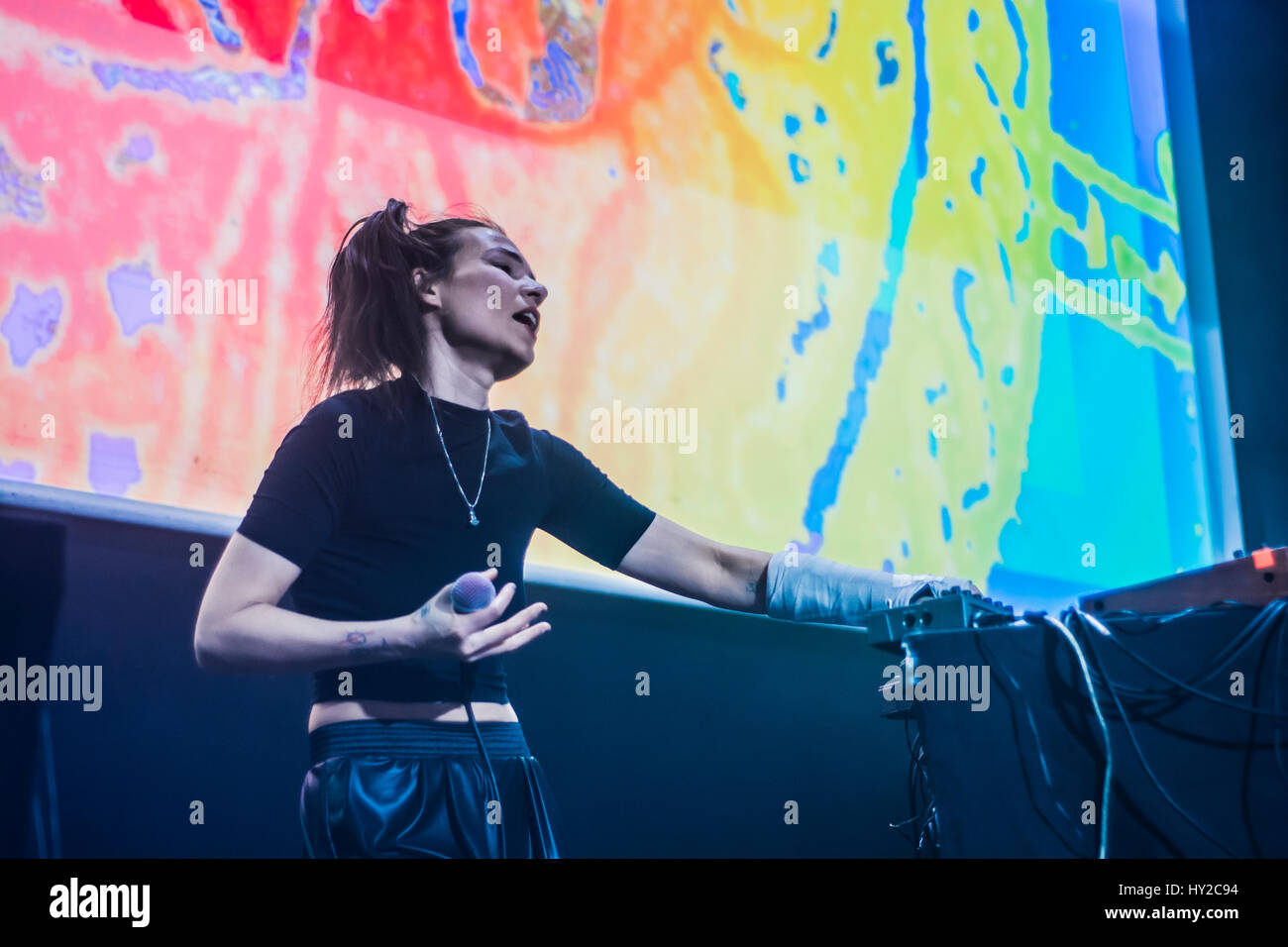 Festival in Madrid Spain electronica en abri in la casa encendida with performers and producers of Electronic music - Stock Image