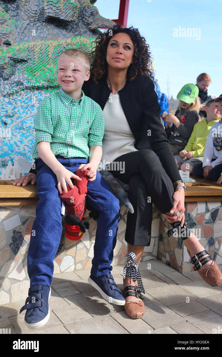 Guenzburg, Germany. 1st Apr, 2017. Lilly Becker and her seven-year-old son Amadeus, photographed at the opening Stock Photo
