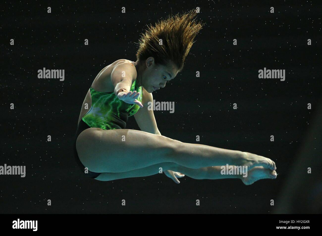 Kazan, Russia. 1st Apr, 2017. Malaysia's Nur Dhabitah Binti Sabri competes in the women's 10m platform final at Stock Photo