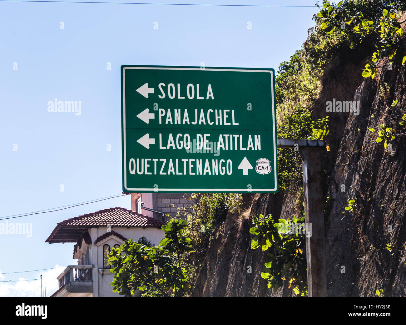 Guatemala road sign with Solola, Panajachel, Lago de Atitlan, and Quetzaltenango. - Stock Image