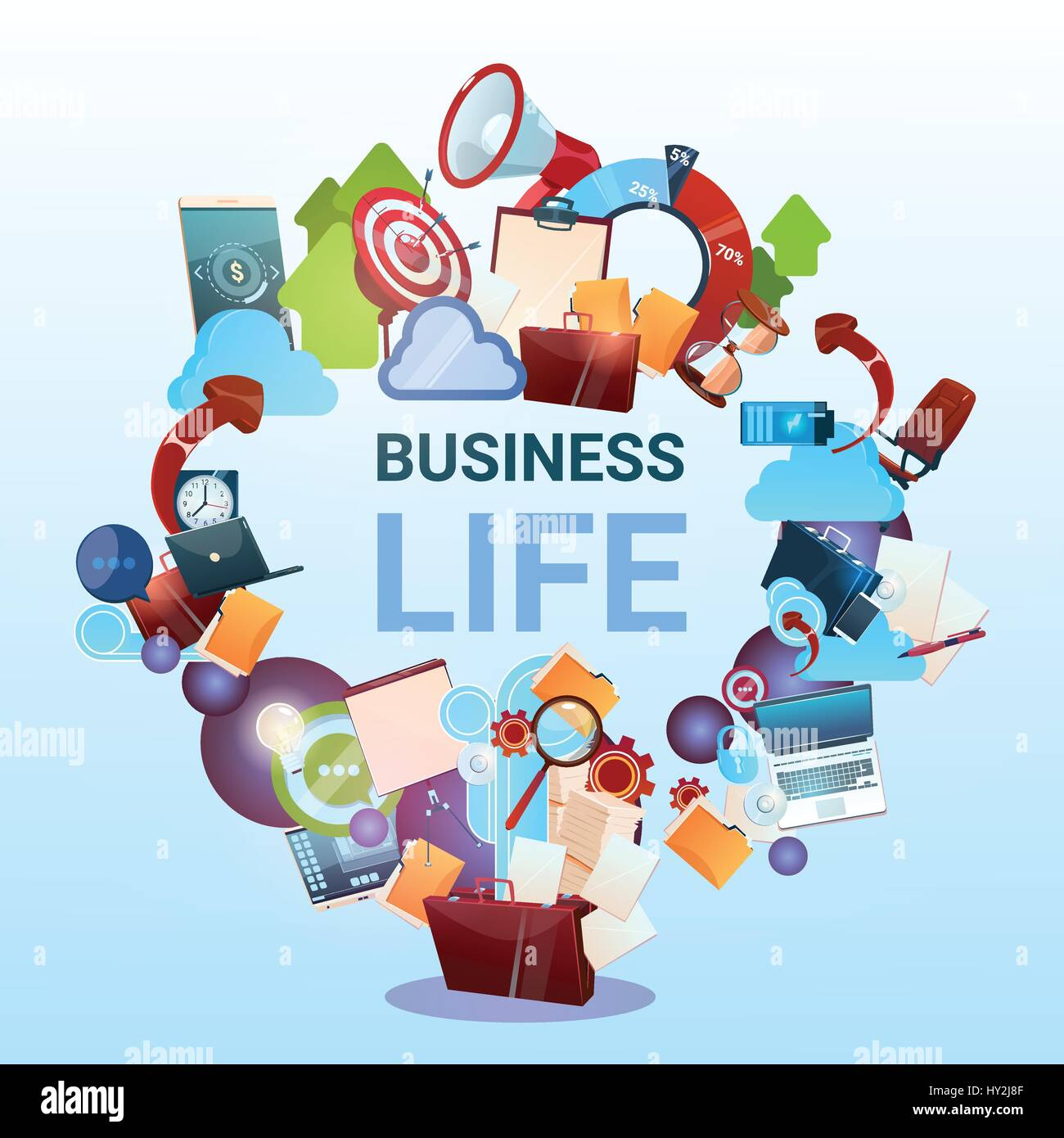 open briefcase marketing teamwork document and target business life