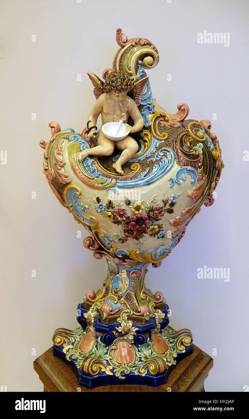 Decorative vases, last quarter of the 19th century, factories Schutz, Celje, Slovenia, exhibited in the Museum of - Stock Image