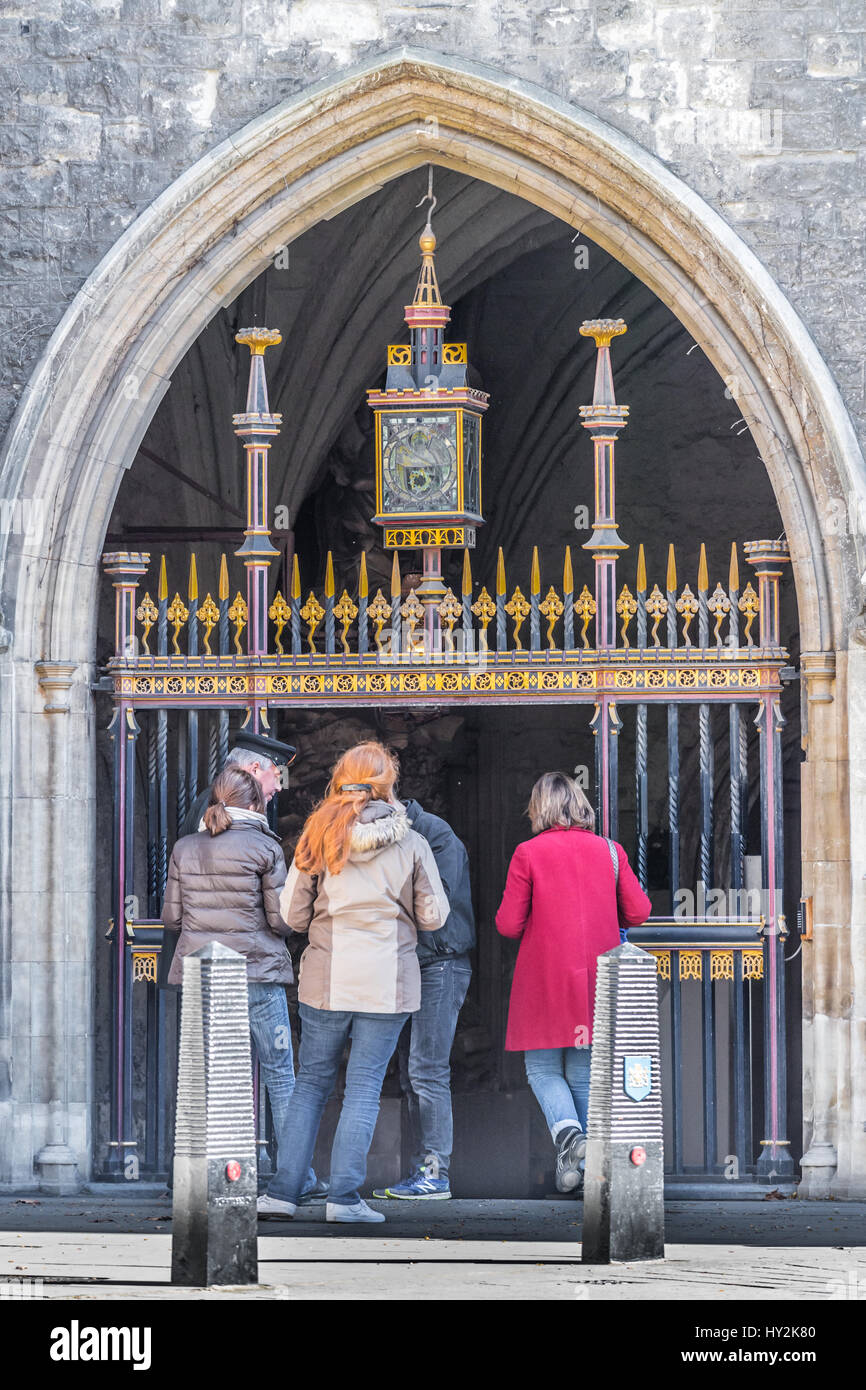 Entrance to Westminster Abbey from Dean's Yard, London, England. - Stock Image