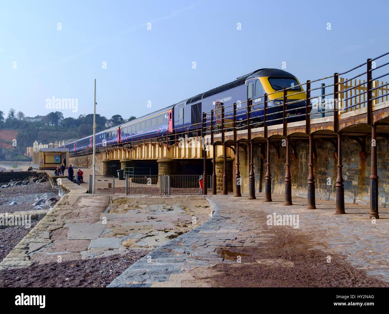 the Railway at Dawlish South Devon England UK - Stock Image