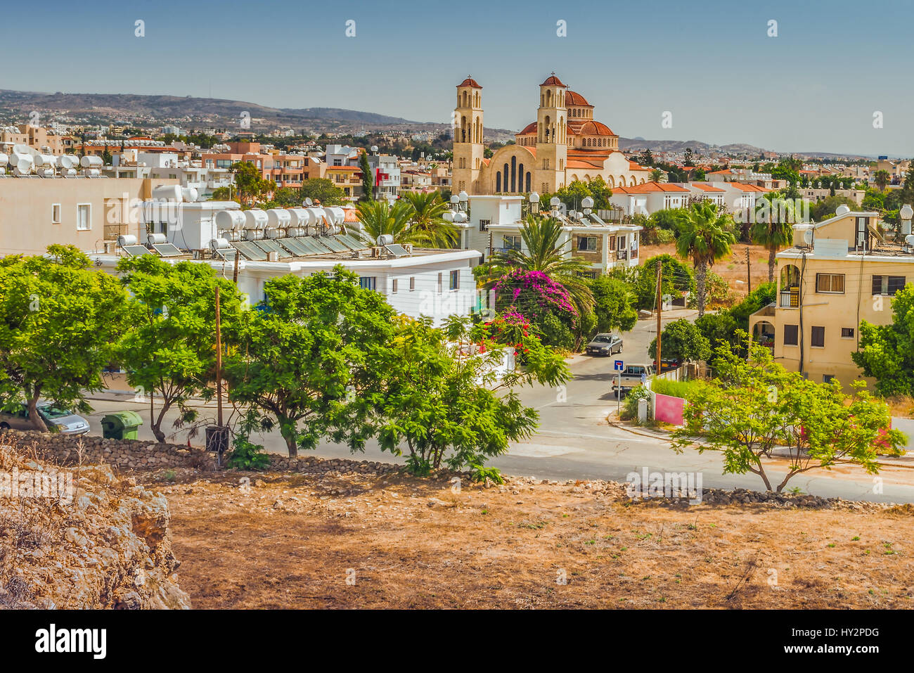 View of the town of Paphos in Cyprus.  Paphos is known as the center of ancient history and culture of the island. - Stock Image