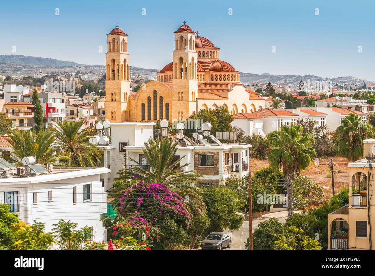 View of the town of Paphos in Cyprus. Paphos is known as the center of ancient history and culture of the island. Stock Photo