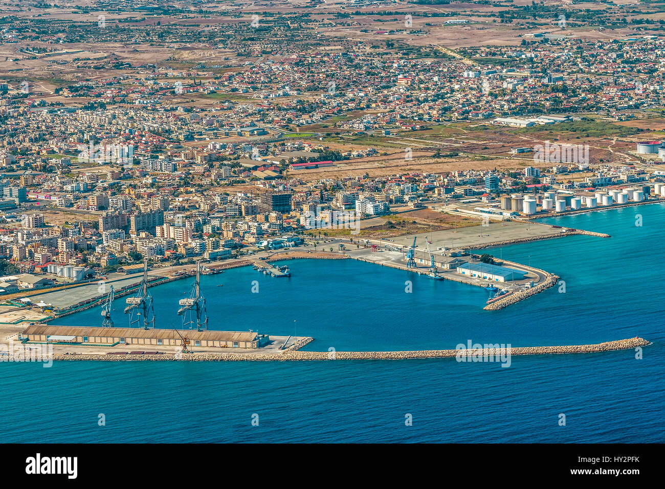 Sea port city of Larnaca, Cyprus.  View from the aircraft to the coastline, beaches, seaport and the architecture Stock Photo