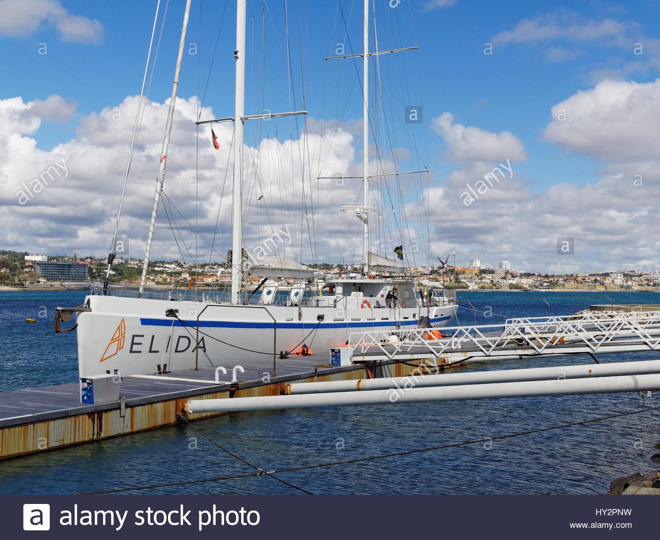 Elida V yacht moored at Cascais marina, Portugal Stock Photo
