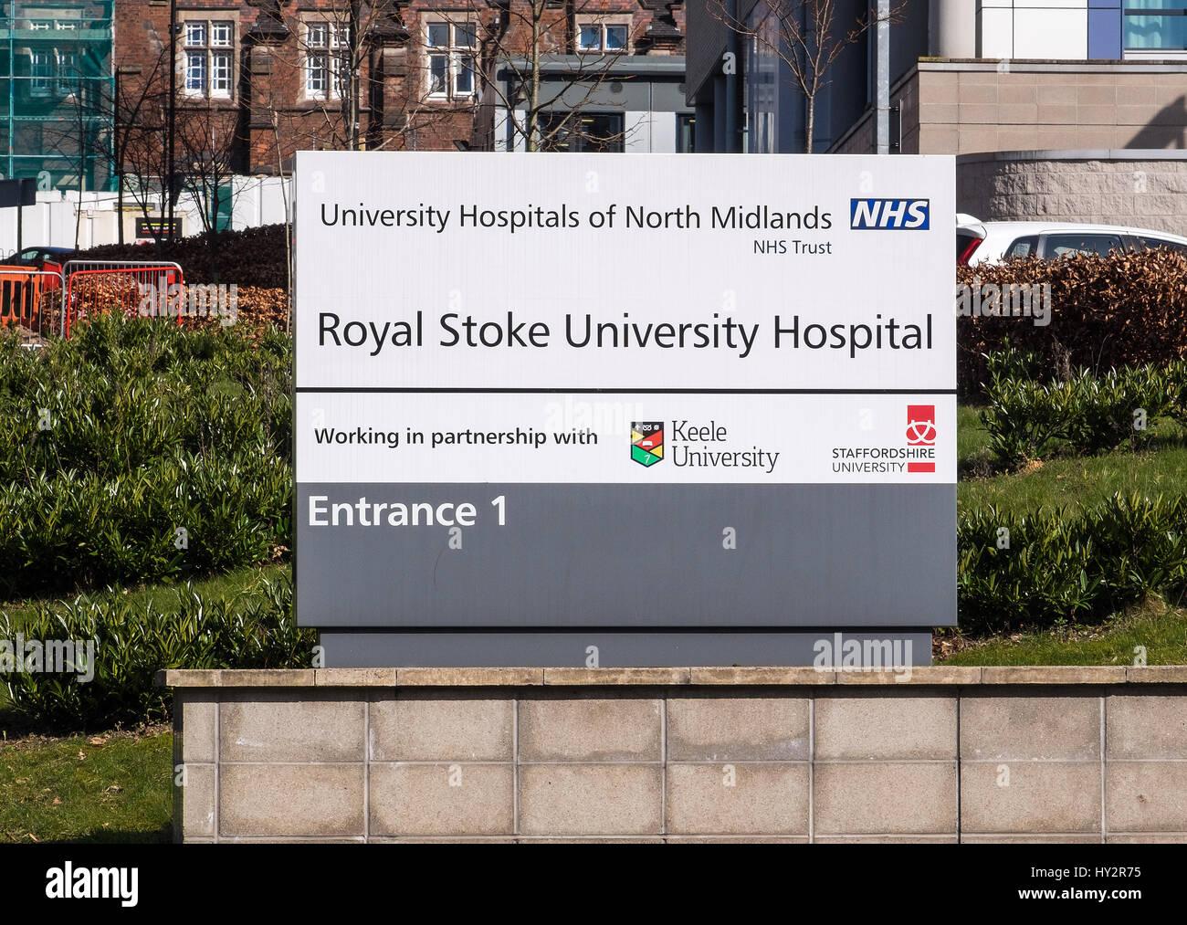 Sign outside the Royal Stoke University teaching hospital Stoke on Trent Staffordshire West Midlands England UK - Stock Image