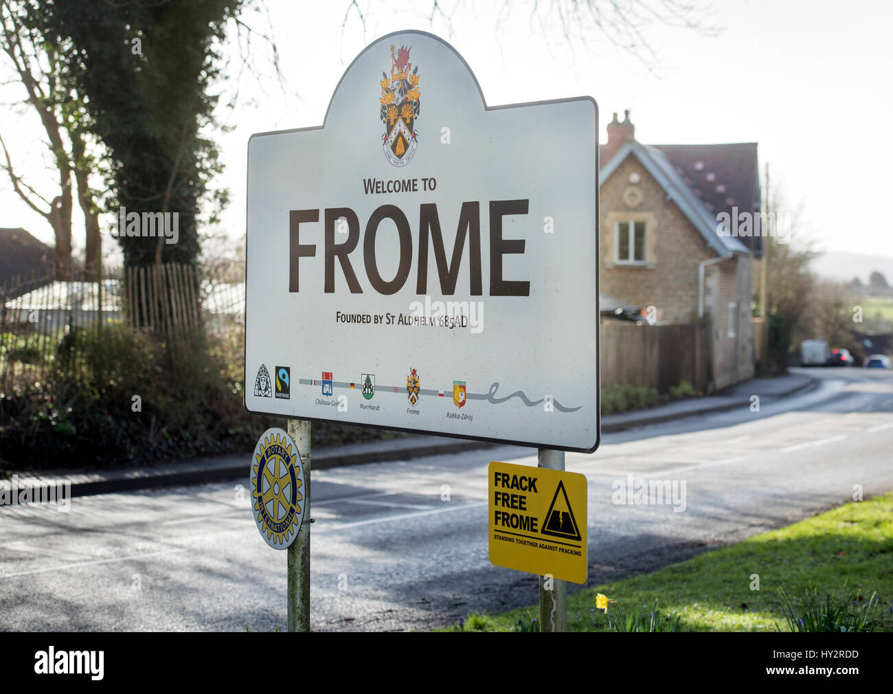 Sign on the approach to the town of Frome in Somerset UK - Stock Image
