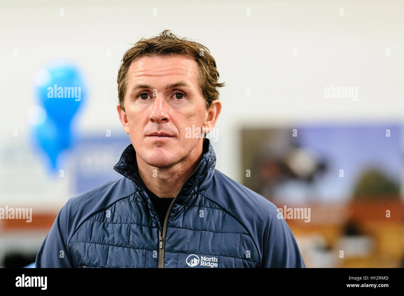NEWTOWNABBEY, NORTHERN IRELAND. 14 MAY 2016 - Champion Jockey AP McCoy opens the first Go Outdoors store in Ireland. - Stock Image
