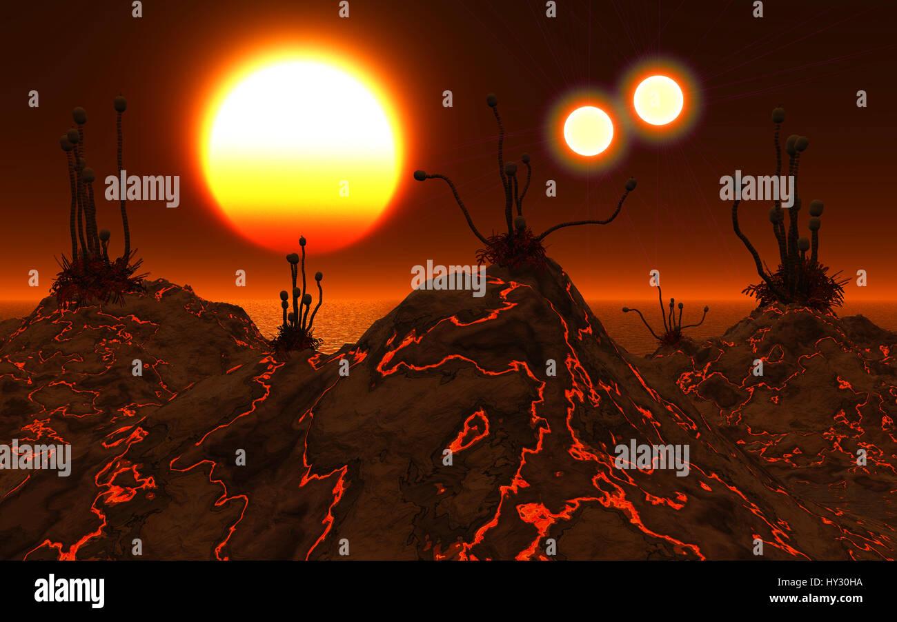 Exoplanet Proxima Centauri B,Orbiting The Red Dwarf Star Proxima Centauri.Part Of The Alpha Centauri Binary Star - Stock Image