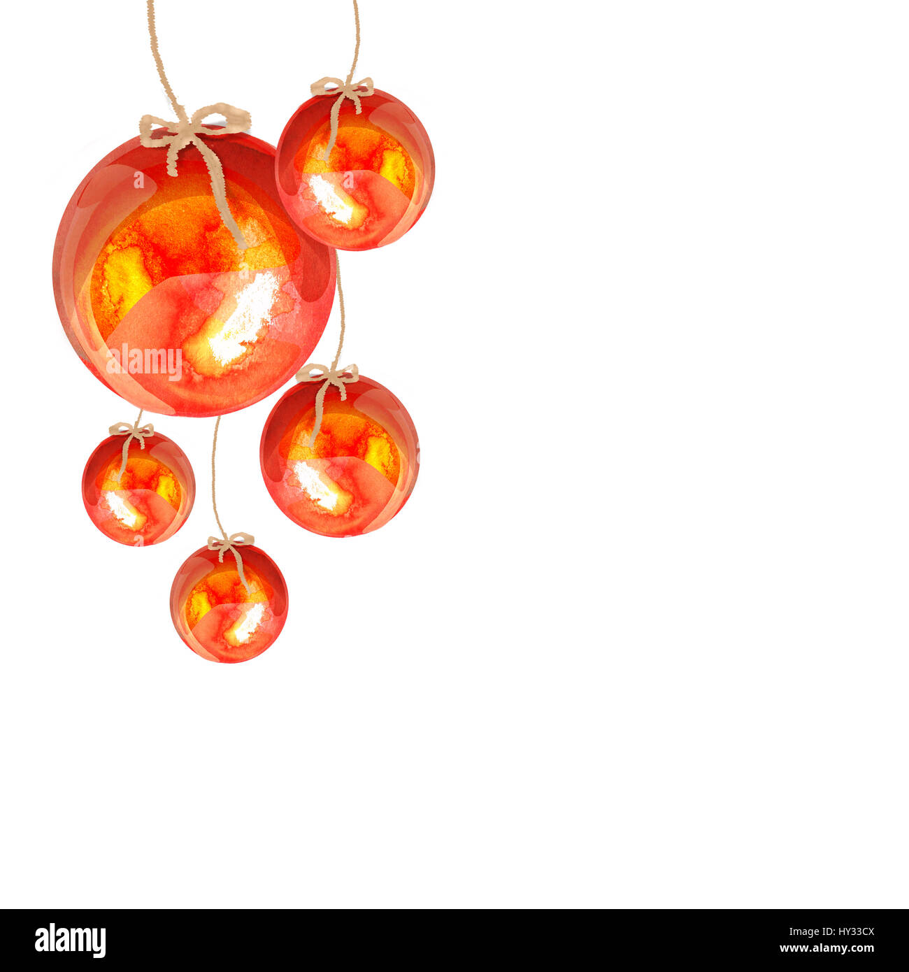 Five red watercolor balls - Stock Image