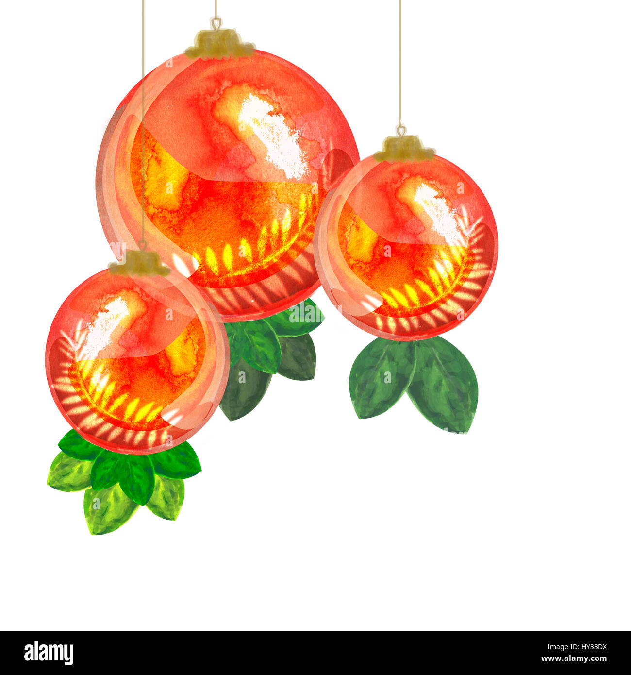 Red watercolor balls with green leaves - Stock Image