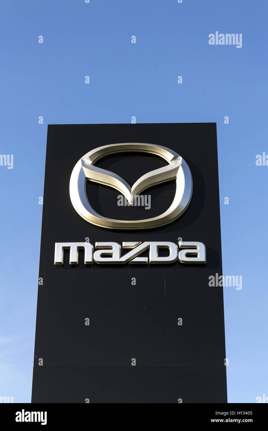 Prague Czech Republic March 31 Mazda Car Company Logo In Front