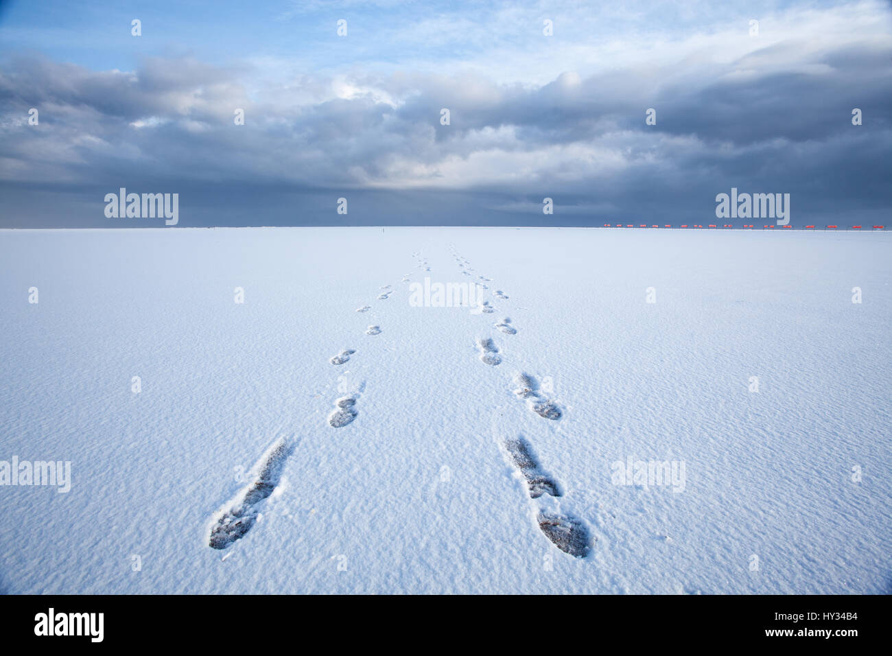Footsteps in a flat cold snow-filled landscape at Donna Nook, Lincolnshire, Great Britain, Europe. - Stock Image
