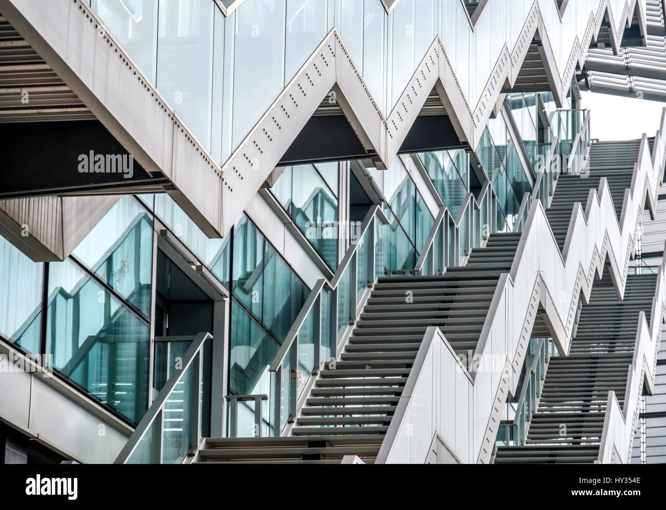 Zig zag stairs modern glass window building zigzag texture