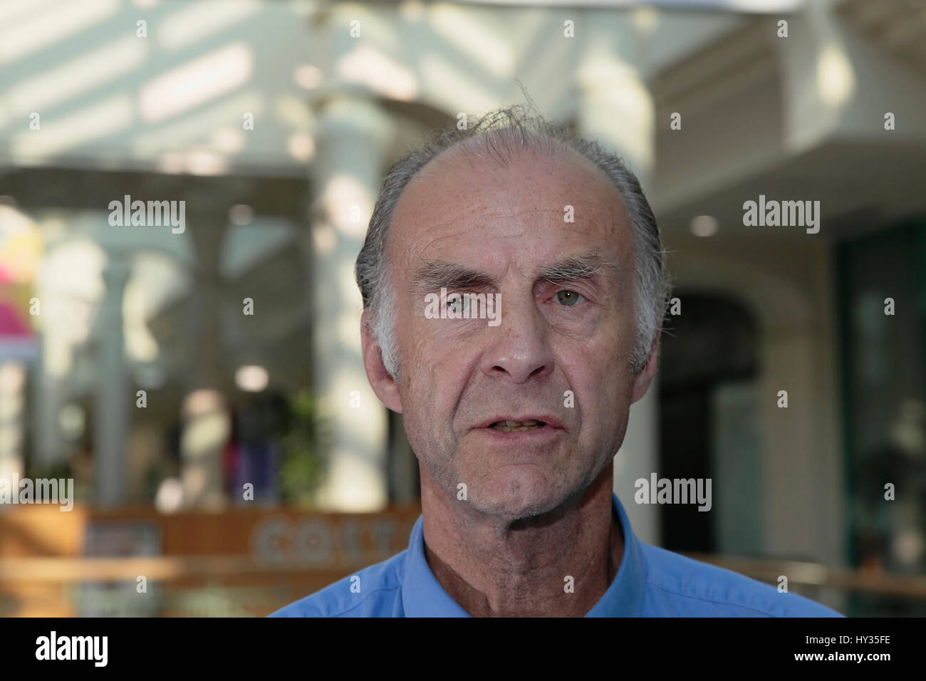 People, Male, Celebrity, Portrait of explorer Sir Ranulph Fiennes. - Stock Image